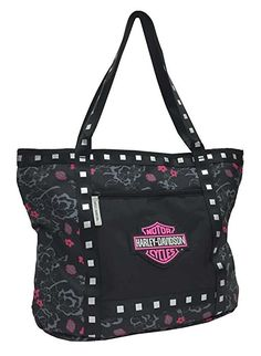 Harley-Davidson Bar & Shield Flowered Tote Bag, Black 7130519 - Womens/Handbags & Wallets/Handbags & Purses - For the Home/Coolers & Totes Harley Davidson Purses, Harley Davidson Kunst, Harley Davidson Kleidung, Harley Davidson Sportster, Harley Davidson Key Chain, Harley Davidson Street Glide, Biker Chick, Biker Girl, Harley Apparel