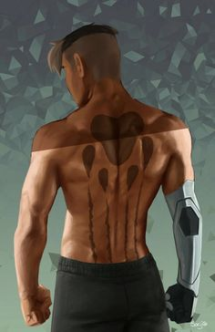 Shiro and Black Lion paw print tattoo on his back from Voltron Legendary Defender