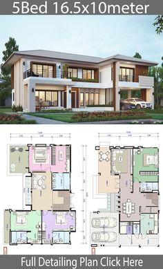 House design plan with 5 bedrooms # Modern House Exterior bedrooms design house Plan design plans Sims House Plans, House Layout Plans, Dream House Plans, House Layouts, House Design Plans, Plan Design, Home Floor Plans, 6 Bedroom House Plans, Design Web