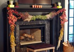 From Little Green Notebook: love the garland on a fireplace without a huge mantle.  DIY how-to on her Nov. 21, 2013 post.