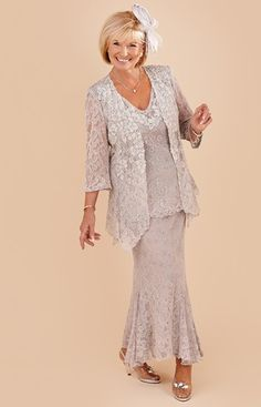 3 Pieces Mother of The Bride Dress Lace Evening Formal Party Suits Outfits for sale online Mother Of The Bride Plus Size, Mother Of The Bride Suits, Mother Of Bride Outfits, Mother Of Groom Dresses, Mothers Dresses, Mob Dresses, Wedding Dresses, Bride Dresses, Dress Suits
