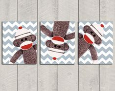 Kindergarten-Kunstdruck-Set - Sock Monkey - 8 x 10