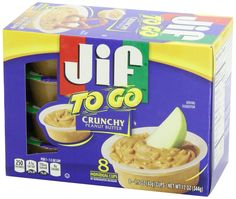 "http://worldgrocerystoreandmore.ecrater.com/p/14993478/ Jif ""To Go"" Crunchy Peanut Butter Cups 1.5 oz 8 ct.  A better way to snack on the go. They are great for dipping pretzels, celery sticks, apple slices and more. 8 individual right-sized cups - At home or on the go. No refrigeration necessary. Kosher."