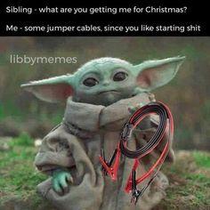 Memes Funny Faces, Stupid Funny Memes, Funny Relatable Memes, Funny Stuff, Funny Things, Yoda Meme, Yoda Funny, Funny Cute, Star Wars Art