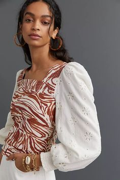 Smocked Puff-Sleeve Blouse | Anthropologie