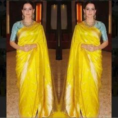 Contrast blouse for yellow saree