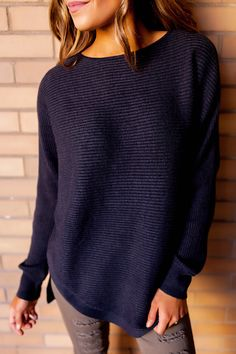 Charcoal Ribbed Round Hem Sweater - Dottie Couture Boutique