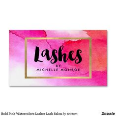 Bold Pink Watercolors Lashes Lash Salon Business Card for Lash Extensions, Lash Artists. Double-sided design - ready to personalize.
