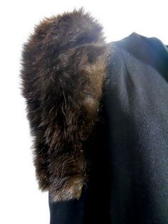 Glam Deep Brown Fur Trimmed Black Wool Dress Coat circa 1930s