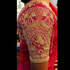 25 Dashing Red Work Blouse designs to try for your wedding - Wedandbeyond Peacock Blouse Designs, Wedding Saree Blouse Designs, Pattu Saree Blouse Designs, Designer Blouse Patterns, Fancy Blouse Designs, Blouse Neck Designs, Hand Work Blouse Design, Stylish Blouse Design, Wedding Mehndi