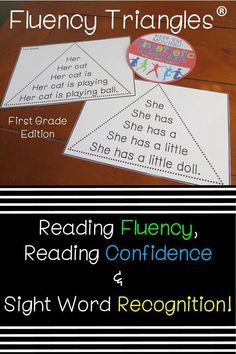 Build reading fluency, reading confidence, AND sight word recognition with fluency triangles®. Great for ALL students, but especially for your struggling readers. Perfect for RTI. Learning Sight Words, First Grade Sight Words, Reading Fluency Activities, Teaching Reading, Reading Task Cards, Love Teacher, Preschool Special Education, Struggling Readers, Reading Intervention