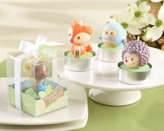"""""""Forest Friends"""" Woodland Candles (Set of 4) - fox as inspiration for cake topper"""