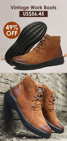 af5ec513a117 Men Vintage Work Style Warm Lined Wearable Leather Ankle Boots is  fashionable