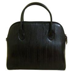 Women's Genuine Eel Skin Leather Solid Top Handle Handbag Shoulder Bag (Black) * You can get additional details at