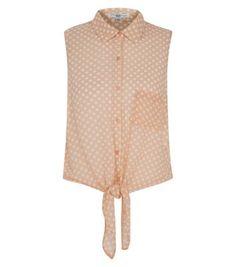 Polka Dot Tie Front Sleeveless Shirt