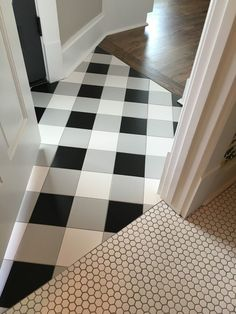Buffalo Check Tile Flooring | Buffalo check tile flooring - created using standard black, white, and gray tiles