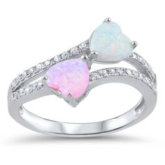 Promise Ring 925 Sterling Silver Double Heart Lab White Opal Lab Pink Opal Round White CZ Split Shank Dazzling Wedding Engagement Ring