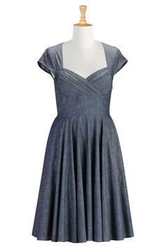 $74.50 Chambray Dresses For Plus Size, Corset Style Dresses Shop women's designer fashion - Little Black Dress - Day-to-Evening Dresses - Day Dresses - | eShakti.com