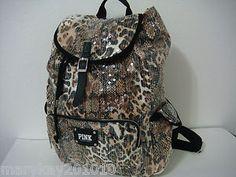 Victoria Secret Backpack   NEW! VICTORIA SECRET PINK NATURAL LEOPARD SEQUIN BACKPACK LIMITED ...
