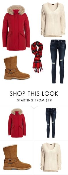 """""""Chills"""" by lavenderantelope ❤ liked on Polyvore featuring Woolrich, AG Adriano Goldschmied, UGG and H&M"""