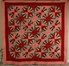 AMAZING Vintage 1910's Wool Grandmother's Fan Antique Quilt ~UNUSUAL DESIGN!
