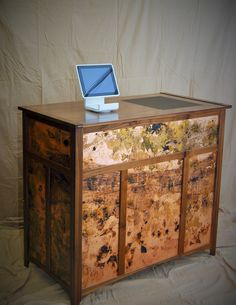 Folding cash wrap stand.  Walnut, copper leaf w/ patina, leather and brass pins/hinges