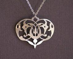 Ornate,Heart,sterling silver ornate heart pendant, ornate heart pendant, floral heart