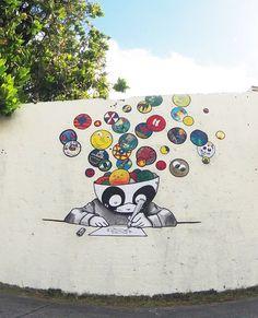 """. Pandakroo , île de la Réunion (France). """"bulles"""" - pandakroo & kidz. St Leu (île de la réunion). France. Avec les élèves de l'école."""