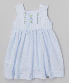 Look at this #zulilyfind! Blue Stripe Flower Babydoll Dress - Infant, Toddler & Girls by Lil Cactus #zulilyfinds