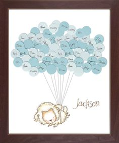 Sheep Lamb Theme Baby Shower Guestbook Print by SayAnythingDesign