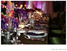 Pelican Hill Wedding : Elise + Chris | Decor, Table arrangements, Violet lighting.