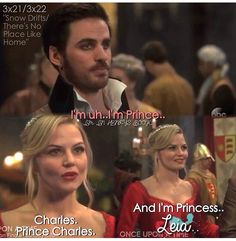 You'd think for a pirate Killian would be a little quicker with a lie :-) Emma (Jennifer Morrison) rescues Killian Jones (Colin O'Donoghue) at King Midas' s royal ball. Episode 3.21 Snow Drifts #OUAT #CaptainSwan