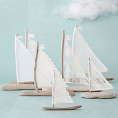 Love this handmade boat from GreenCraft Magazine Autumn 2014 - Stampington / the lacey fabric and washed wood give it a lovely romantic flair.