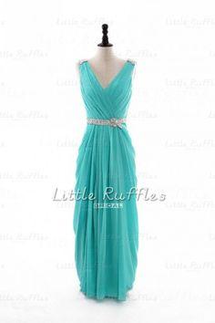 Aqua Chiffon DressTiffany Blue Long Prom by LittleRufflesBridal, $129.99
