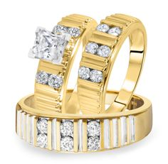 2+CT.+T.W.+Diamond+Ladies+Engagement+Ring,+Wedding+Band,+Men's+Wedding+Band+Matching+Set+14K+Yellow+Gold