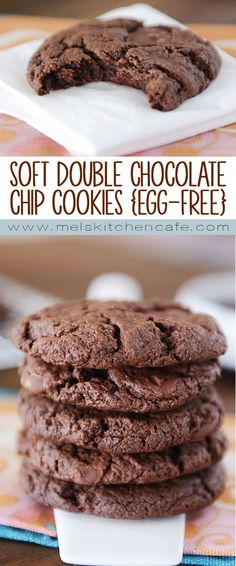 These soft double chocolate chip cookies are egg-free, rich and so, so soft and yummy.