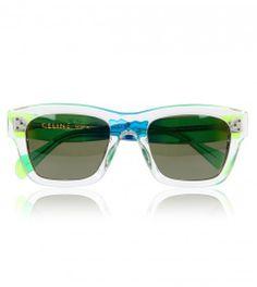 Celine Green Rainbow Sunglasses from www.profilefashion.com Celine, Sunglass Frames, Eyewear, Fashion Accessories, Shoe Bag, Sunglasses, Rainbow, Green, Shoes