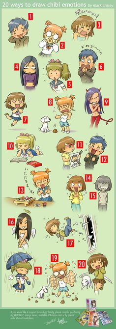 20 Ways to Draw Chibi Emotions by ~markcrilley  LOL