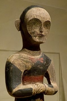 Shaman or attendant Chu culture Jiangling Hubei Province China Warring States Period 4th - 3rd century BCE Wood with cinnabar and black lacquer