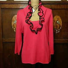 Hot Pink Ruffle Trim Sweater XL by Red Elegant hot pink sweater with black edged ruffle trim. Armpit to armpit measurement is approximately 20 inches and 24 inches from shoulder to hem. NWT RED Sweaters