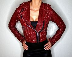 New Women Rock Punk Red Full Metal Spiked Studded Brando Zipper Leather Jacket XS to Size Available handmade Stuff Studded Jacket made with 100 % Genuine Top Quality Cowhide Leather Studded Used Each Single one is Punched with hands. Jacket Style, Vest Jacket, Punk Fashion, Trendy Fashion, Leather Store, Studded Leather Jacket, Metal Spikes, Jackets For Women, Clothes For Women