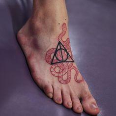 harry potter snad snake tattoo on foot by@mirkosata ph by @satatttvision