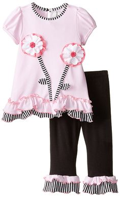 Amazon.com: Rare Editions Baby Baby Girls' Flower Applique Legging Set, Pink/Black, 12 Months: Clothing