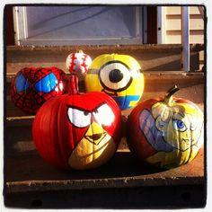Kids painted pumpkins