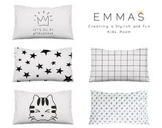 Adorable pillows by EmmasStory on Etsy, gender-neutral nursery decor ideas, monochrome nursery, minimalist nursery, black and white bedding, kids bedding #nursery