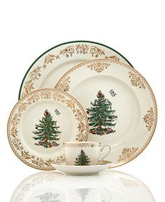 Spode Christmas Tree Gold Collection - Fine China - Dining & Entertaining - Macy's My favorite formal but truly traditional christmas china Christmas China, Spode Christmas Tree, Christmas Dishes, Christmas Tablescapes, Noel Christmas, Christmas Ornaments, Christmas Dinnerware, Christmas Entertaining, Christmas Table Settings