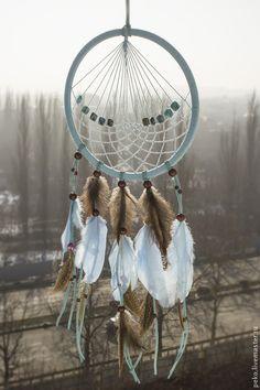 Купить Ловец снов Равновесие - голубой, белый, ловец снов, оберег, подарок