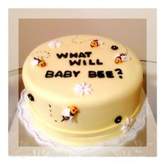 What will baby bee? Bumble bee baby shower cake! #gender reveal party