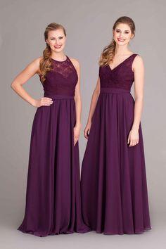 Elegant long, lace and chiffon bridesmaid dresses in eggplant purple! | Kennedy Blue Bridesmaid Dress Delilah | Kennedy Blue