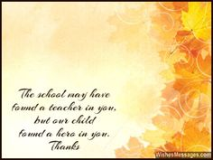 Thank You Messages to Teachers from Parents: Notes and Quotes ...